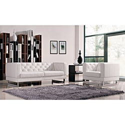 White Allegro Sofa and Chair Set
