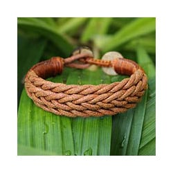 Coconut Shell and Cotton 'Chiang Rai Brown' Bracelet (Thailand)
