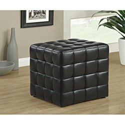 Black Leather-Look Ottoman