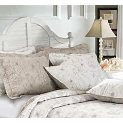 Hibiscus Taupe Quilted Sham (Set of 2)