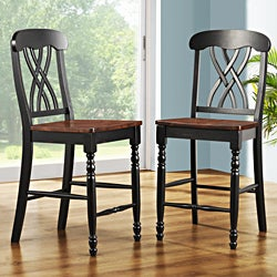 ETHAN HOME Mackenzie 24-Inch Black Counter Height Stool (Set of 2)