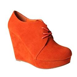 Refresh by Beston Women's 'GENESIS-01' Orange Wedge Ankle Booties