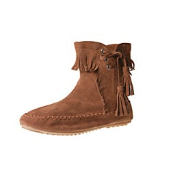 Refresh by Beston Women's 'Mini-02' Chestnut Fringe Ankle Booties