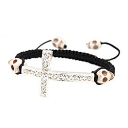 White Skull and Silver Cross Nylon Macrame Bangle Bracelet