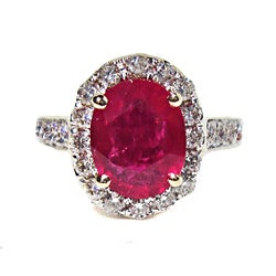 14k Yellow Gold Ruby and Diamond Designer Ring (Size 9)