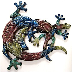 Recycled Steel Drum Multicolored Lizards Wall Art (Haiti)