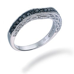 Sterling Silver 2/5ct TDW Black Diamond Curved Milligrain Ring