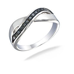 Sterling Silver 1/4ct TDW Black Diamond Crossover Ring