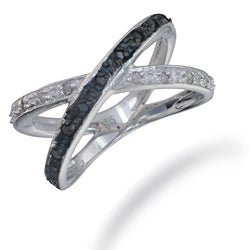 Sterling Silver 1/4ct TDW Black and White Diamond Criss-cross Ring (I-J, I2-I3)