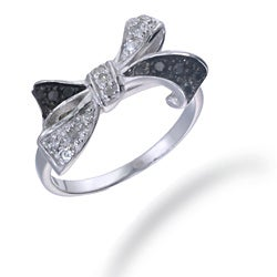 Sterling Silver 1/5ct TDW Black and White Diamond Bow Ring (I-J, I2-I3)