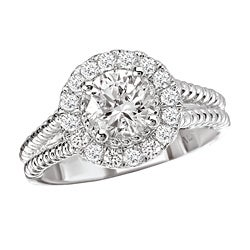 14k White Gold 1/3ct TDW Diamond Semi-mount Engagement Ring (G-H, SI1-SI2)