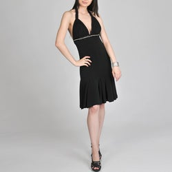 Janine of London Women's Black Halter Cocktail Dress