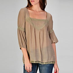 Ruby Rose Junior's Square Neck Bubble Sleeve Peasant Top