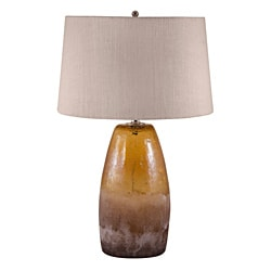 Amber Crackle Arctic Glass Lamp