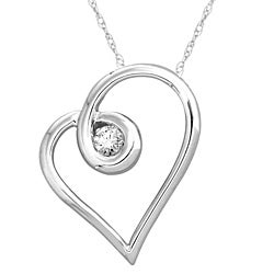 14k White Gold 1/6ct TDW White Diamond Heart Necklace (H-I, I1-I2)