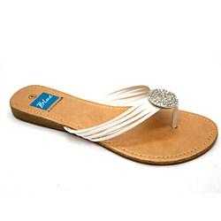 Blue Women's 'Ovastone' White Thong Sandals