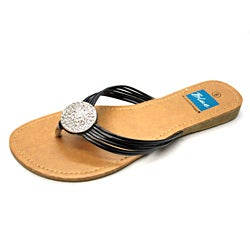 Blue Women's 'Ovastone' Black Thong Sandals