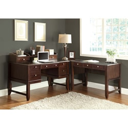 Cappuccino Solid Wood Corner 'L' Shape Desk