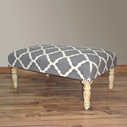 Hand Upholstered Moroccan Trellis Grey Wood Bench