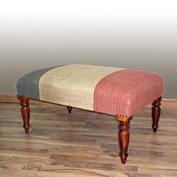 nuLOOM Hand Upholstered France Flag Multi Wood Bench