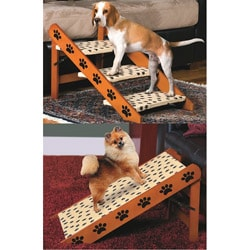 Sturdy Convertible Pet 3-Step Stairs or Ramp with Paw Print Design