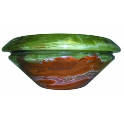 Green/ Brown Onyx Marble Round Double Lip Vessel