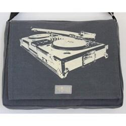 Two Tree Designs Handmade Medium Grey Turntable Music Messenger Bag