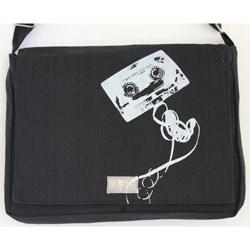 Two Tree Designs Handmade Medium Black Cassette Tape Messenger Bag