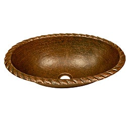 Premier Copper Products Oval Braided Rolled Rim Copper Sink / 5 Inch Height