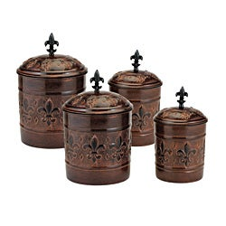 Old Dutch Versailles Antique Copper Canisters (Set of 4)