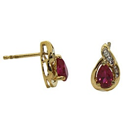 Gold over Silver Created Ruby and Cubic Zirconia Earrings