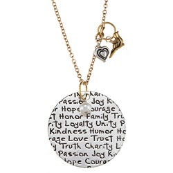 Charming Life Gold/ Silverplated FW Pearl 'Life is...' Necklace (5-6 mm)