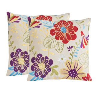 Christopher Knight Home Embroidered Flowers Pillows (Set of 2)