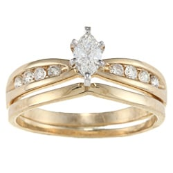 Victoria Kay 14k Yellow Gold 1/2ct TDW Marquise Diamond Bridal Ring Set (H-I, SI1-SI2)