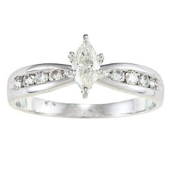Victoria Kay 14k White Gold 1/2ct TDW Marquise Diamond Engagement Ring (H-I, SI1)