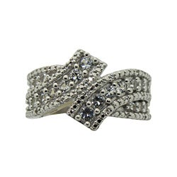 Sterling Diamond and Created White Sapphire Silver Ring (I1-I2, IJ)