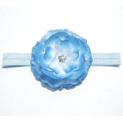 Boutique Blue Chiffon Flower Stretch Headband