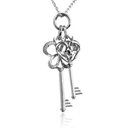 Sterling Silver Diamond Accent Heart and Butterfly Keys Diamond Charm Necklace
