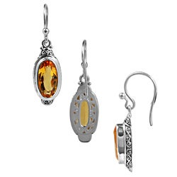 Sterling Silver and Citrine Oval Dangle Earrings (Indonesia)