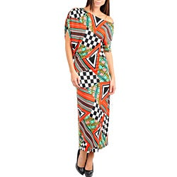 Stanzino Women's Red and White Multi Prints Off Shoulder Long Dress