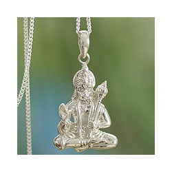 Sterling Silver 'Brave Hanuman' Necklace (India)