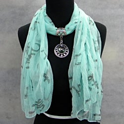 Seafoam Green with Smokey Topaz Jewelry Scarf