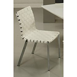 Helmsley Woven White Leather Side Chair