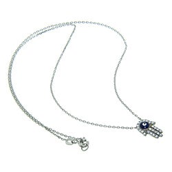 Eternally Haute Sterling Silver CZ Evil Eye Hamsa Necklace