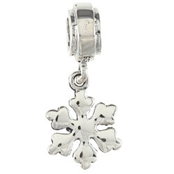 Sterling Silver Dangling Snowflake Charm Bead