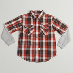 Calvin Klein Boys Orange/Gray Plaid Woven Cotton Button-down Shirt