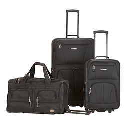 Rockland Perfect Ensemble 3-piece Black Expandable Luggage Set