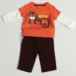 Kids Headquarters Newborn Boys' Orange/Brown Monkey Shirt/Pant Set