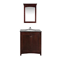 Windsor Walnut Brown 30-inch Bath Vanity with 2 Doors and Black Granite Top