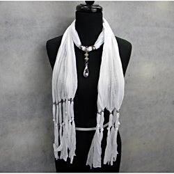 Bright White Fashion Jewelry Scarf with Siilver Toned Raindrop
